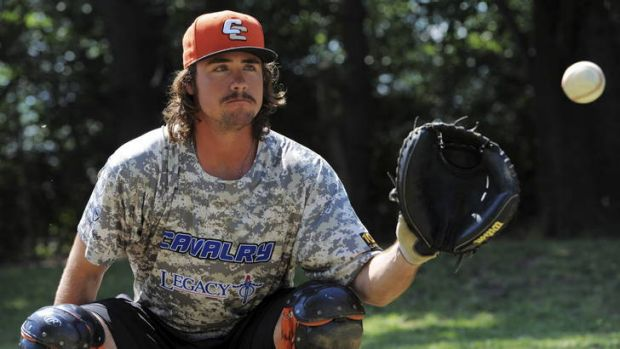 Canberra Cavalry catcher, Jack Murphy, wearing the military-style uniform that the team will wear as a fund-raiser for ...