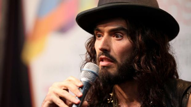 Russell Brand, who will stage a comedy show in Melbourne at Rod Laver Arena in December, speaks to the media at the ARIA ...