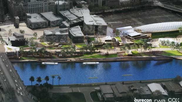 Take us to the river: Artist's impression of the planned River Terrace development at Federation Square.