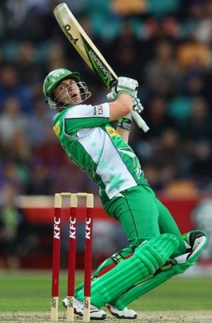 Big hit: Luke Wright on song for the Melbourne Stars in Hobart in last season's Big Bash League.