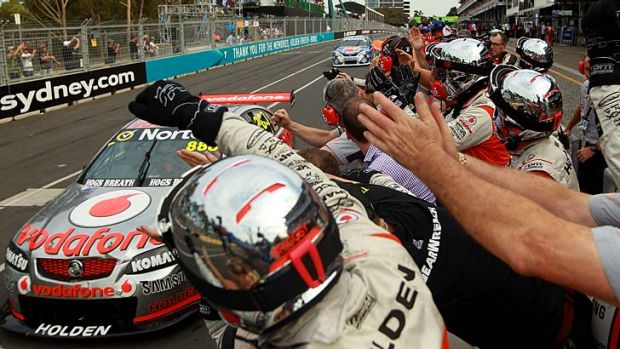 Team effort … Craig Lowndes lands victory in Saturday's Sydney 500 race. Victory leaves him second on the ...