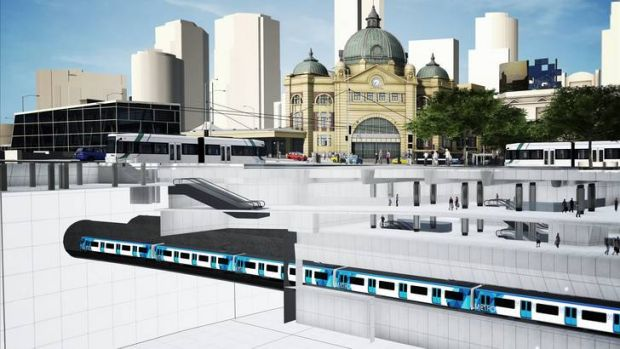 An artist impression of the proposed CBD South Station, which would be build beneath Flinders Street.