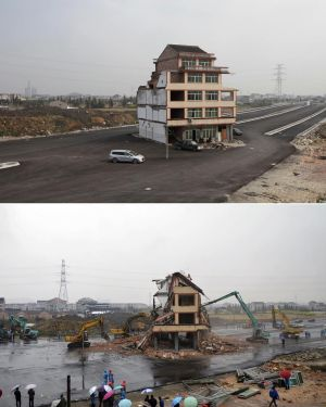 Before and after ... owners of the lone house on the main road agree to compensation.