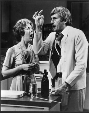 "Ross Higgins as Ted Bullpit with his wife Thel (Judi Farr) in ""Kingswood Country""."