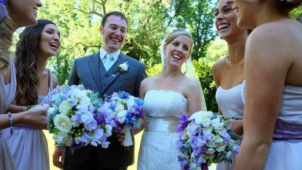Newlyweds Daniel and Natalie Lyon.