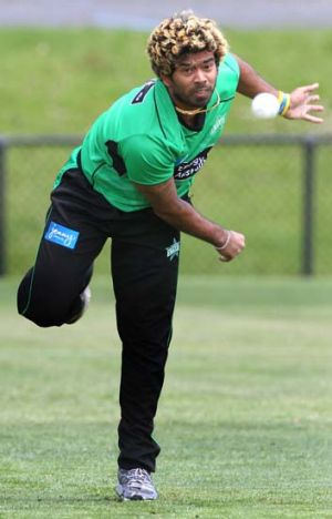 Club cameo … Lasith Malinga launches a delivery.