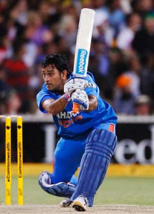 Pitched up ... M.S. Dhoni.