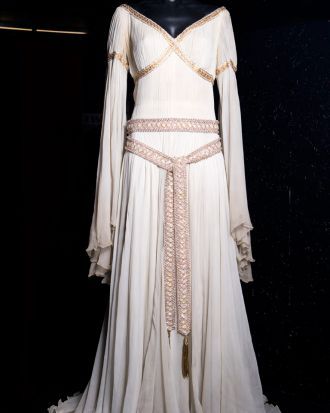 The costume Rhonda Fleming wore as Alisande la Carteloise in the movie A Connecticut Yankee in King Arthur's Court (1949).