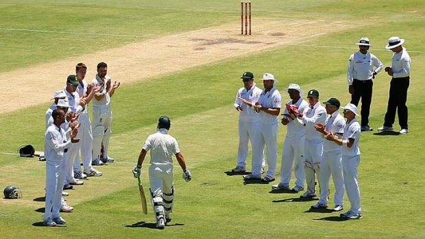 Touching tribute … the Proteas' pay their respects.