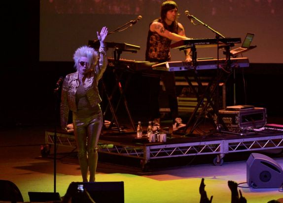 Blondie performing at the Sidney Myer Music Bowl.