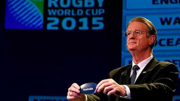 Bernard Lapasset, chairman of Rugby World Cup, draws Australia.