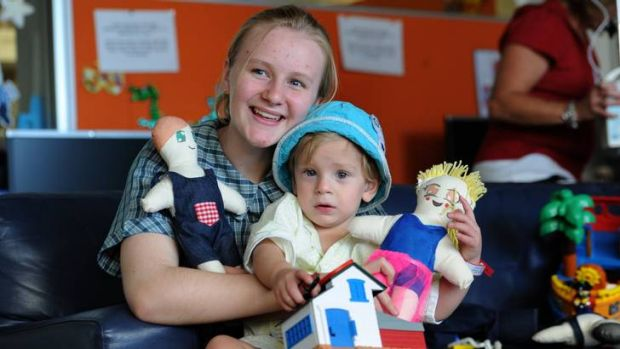 Students from Trinity Christian School, visit The Canberra Hospital paediatric ward to deliver hand made dolls to the ...