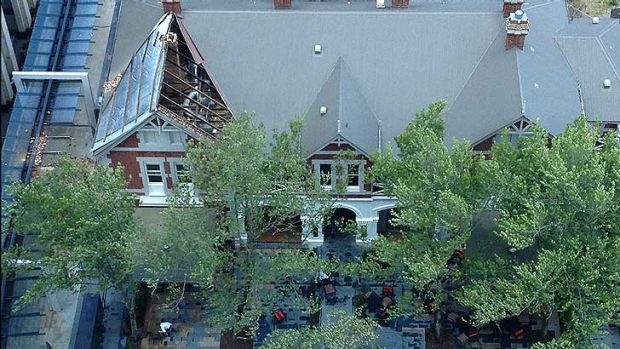 The Terrace Hotel lost its roof in the violent winds.