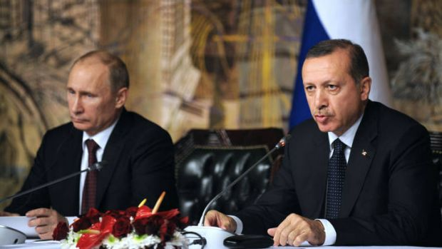 Russian President Viladimir Putin, left, met with Turkish Prime Minister Recep Tayyip Erdogan for talks covering their ...