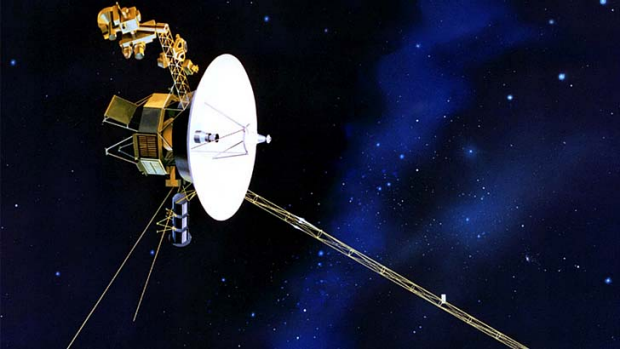 Eighteen billion kilometres away ... an artist's impression of the Voyager spacecraft.