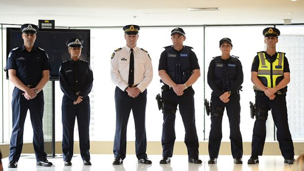 Fashions in the field ... Victoria Police parade their new uniforms.