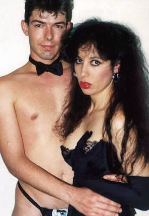 "On show … Nikki Stern with husband Paul Van Eyk for the ""Horny Housewife"" video series in 1990."