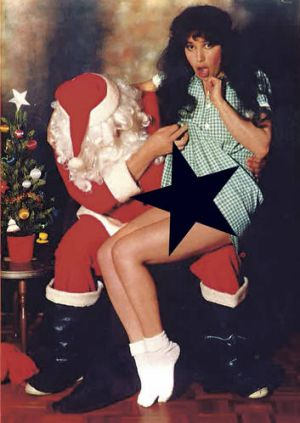 Bad Santa … Stern, in her Methodist Ladies' College uniform, and Paul Van Eyk pose for the Christmas card they would ...