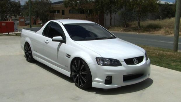 A Holden ute seized by police after the driver was allegedly caught doing burnouts.