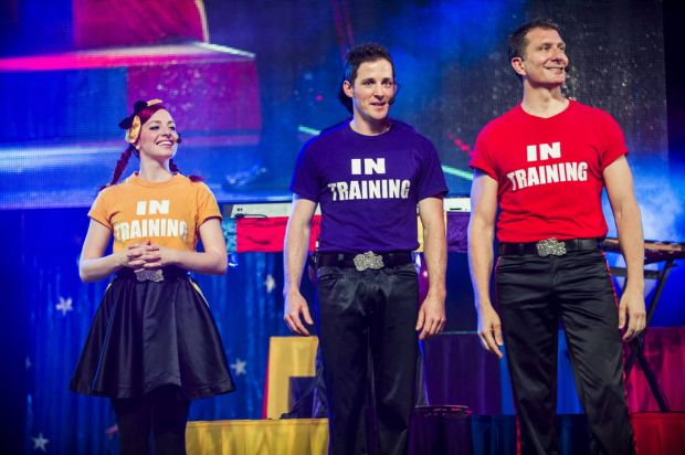 The Wiggles perform at AIS Arena. The new Wiggles, Emma (Watkins), Lachlan (Gillespie), and Simon (Pryce), are ...