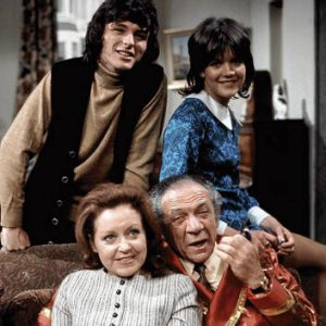 """Bless … Stewart with Sid James, bottom right, in """"Bless This House""""."""