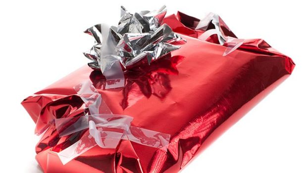 Badly wrapped Christmas present