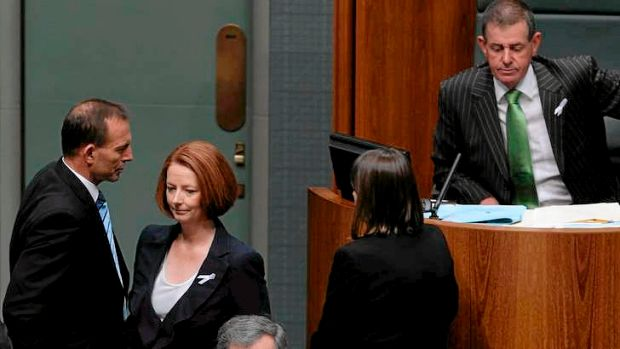 Opposition Leader Tony Abbott, Prime Minister Julia Gillard and former Speaker of the House Peter Slipper.