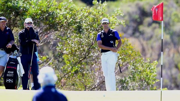 Experimental ... Adam Scott tried using a shorter putter at the Lakes during the practice rounds, but will revert to his ...