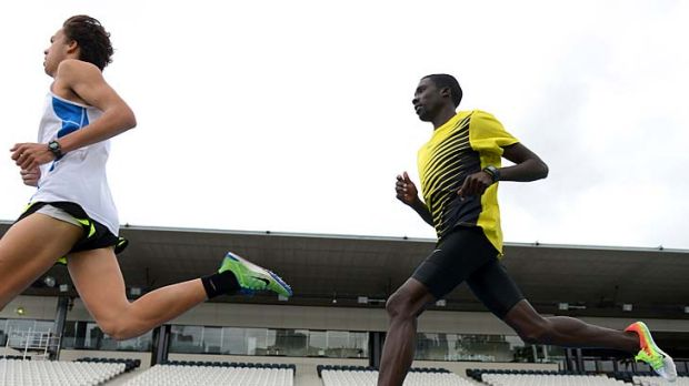 Point to prove: Emmanuel Bett (right) trains for the Zatopek 10 with Luke Matthews.
