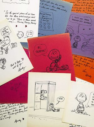 Fan mail ... some of the letters and drawings sent by Charles Schulz to Tracey Claudius, who had been eager to meet the ...