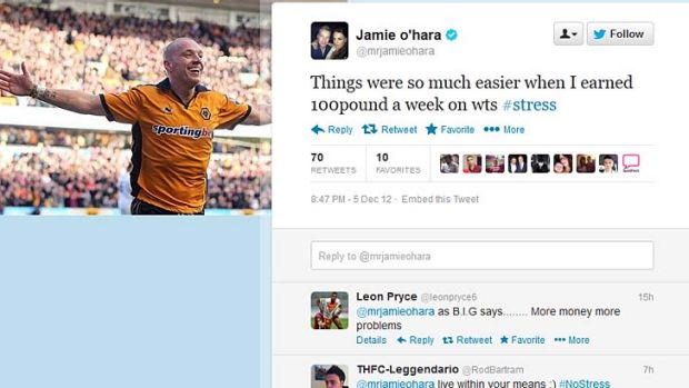 Controversial tweet ... critics hit out at Jamie O'Hara over his comment.