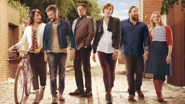 Keeping busy … (from left) Michelle Moore, Stephen Curry, William McInnes, Claudia Karvan, Shane Jacobson and ...