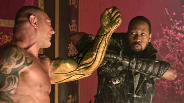 Punch lines … RZA (right) as Thaddeus the blacksmith takes on Dave Bautista's Brass Body in a film that pays ...