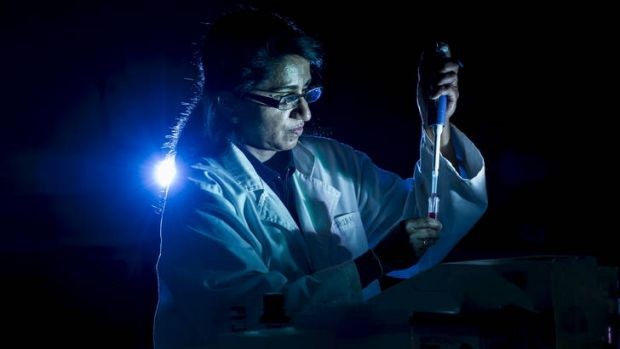 University of Canberra, forensic labs technical officer, Shirani Katupitiya, works in the lab.