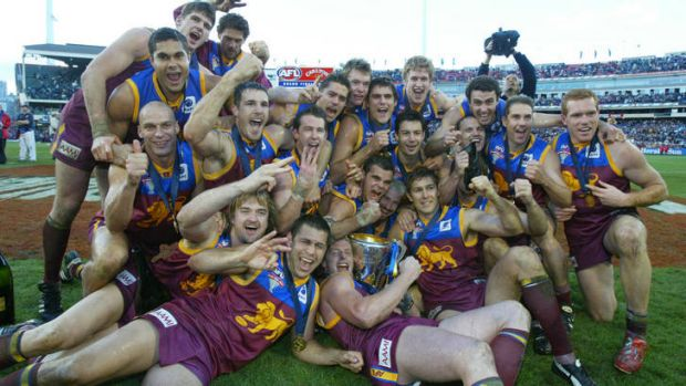 The victorious Brisbane Lions after the 2003 Grand Final victory.