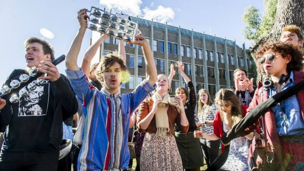 Scenes at the ANU School of Music earlier in the year as Students and the wider-community are protested proposed changes ...