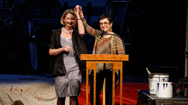 Australia Council CEO Kathy Keele (left) accepts the New Victory Arts Award from Cora Cahan in New York.
