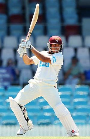 Hitting out … Usman Khawaja was in good touch for the Chairman's XI against Sri Lanka on Thursday, making a solid ...