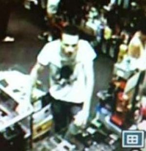 The man police wish to speak to in relation to the theft of a replica gun.