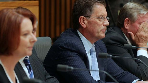 Prime Minister Julia Gillard and Victorian Premier Ted Baillieu at the Council of Australian Government meeting.