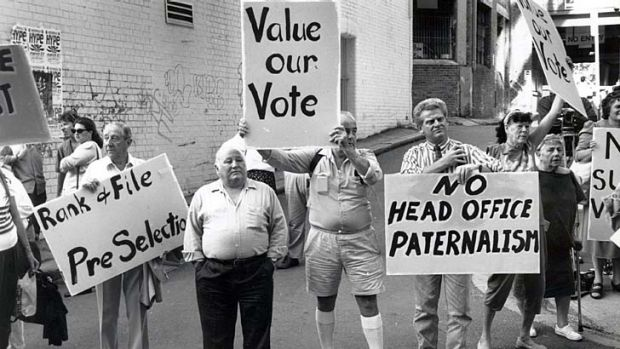 Feedback ...  a Labor Party protest outside the Labor Council building in 1994.
