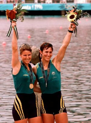 Australia's Megan Still, right, and Kate Slatter after wining the gold medal in the women's coxless pair at the Atlanta ...