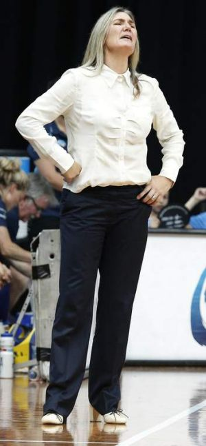 Capitals coach Carrie Graf frustrated on the sidelines.