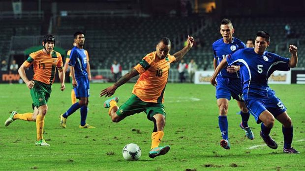Archie Thompson of Australia during their match against Guam.