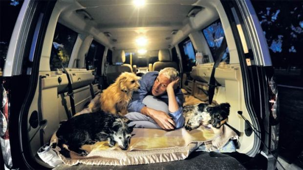 Brett lives in his van with his dogs Gus, Paddington and Mike.