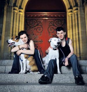 Shannon Oliver and Blake Reeves with his dogs Jaaks and Tinkerbell.