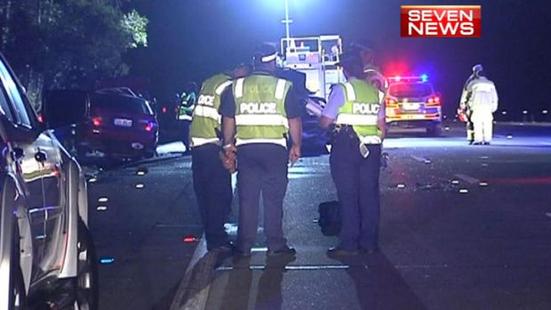 A screenshot from Channel 7 footage of the fatal crash at Coomera overnight Friday.