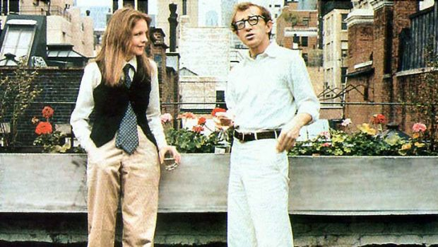 Diane Keaton and Woody Allen in <em>Annie Hall</em>.