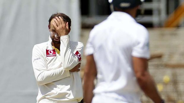 Offie day … Nathan Lyon shows the strain of failing to bowl Australia to a win over the Proteas.