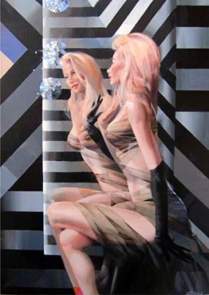 Crystal mirror ... Charles Billich's painting.